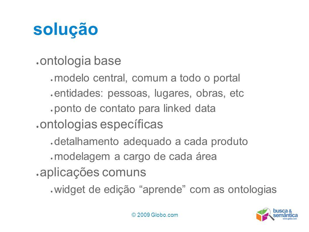 © 2009 Globo.com 7 solução ontologia base modelo central, comum a todo o portal entidades: pessoas, lugares, obras, etc ponto de contato para linked d