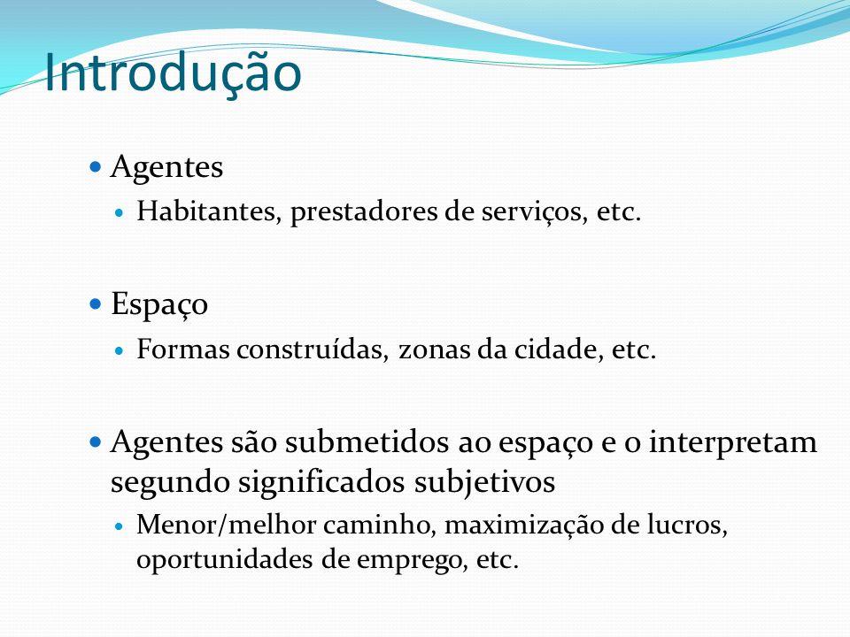 Introdução Agentes Habitantes, prestadores de serviços, etc. Espaço Formas construídas, zonas da cidade, etc. Agentes são submetidos ao espaço e o int