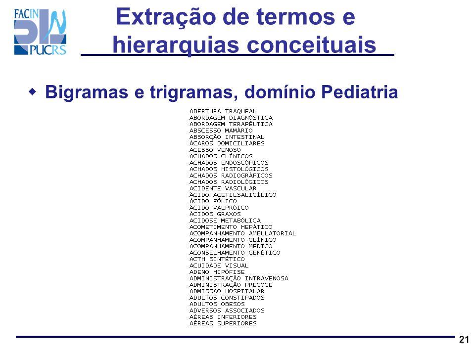 21 Bigramas e trigramas, domínio Pediatria Extração de termos e hierarquias conceituais