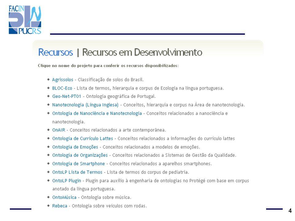 Recursos Disponíveis Agrissolos BLOC-Eco Nanotecnologia (Língua Inglesa) Ontologia de Nanociência e Nanotecnologia OnAIR Ontologia de Currículo Lattes Ontologia de Emoções Ontologia de Organizações Ontologia de Smartphone OntoLP Lista de Termos Corpus de Pediatria OntoLP Plugin OntoMúsica Rebeca (veículos com rodas) 5