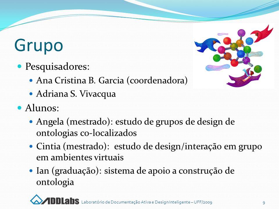 Grupo Pesquisadores: Ana Cristina B. Garcia (coordenadora) Adriana S. Vivacqua Alunos: Angela (mestrado): estudo de grupos de design de ontologias co-