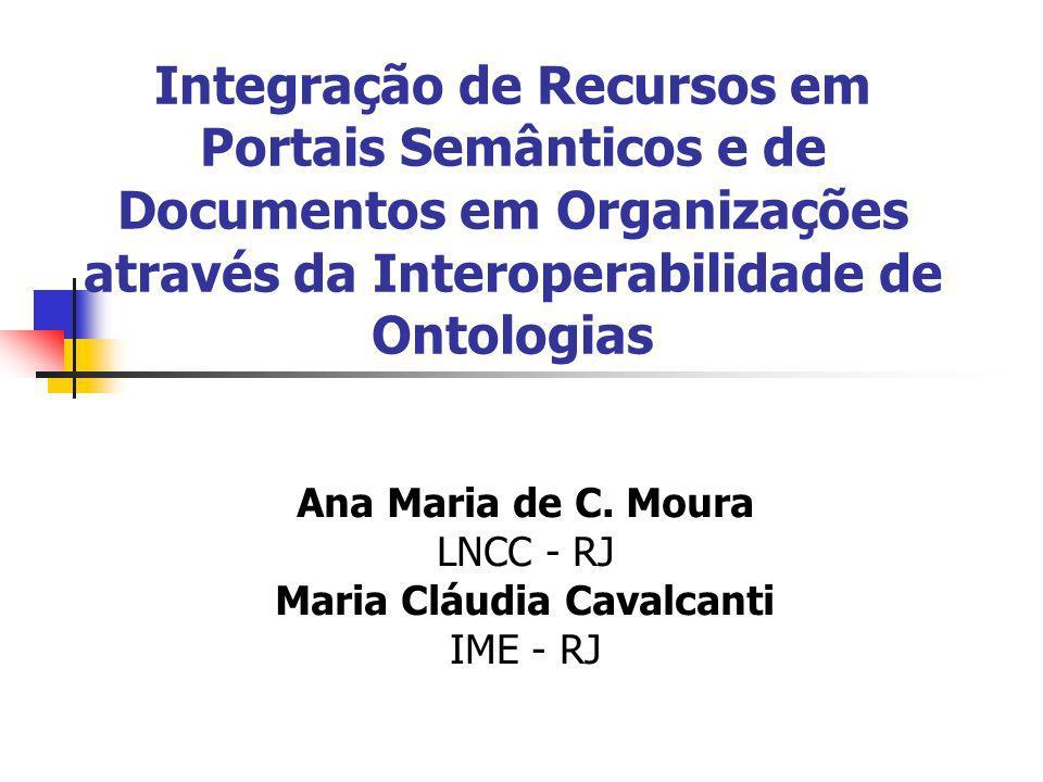 Integração de Recursos em Portais Semânticos e de Documentos em Organizações através da Interoperabilidade de Ontologias Ana Maria de C.