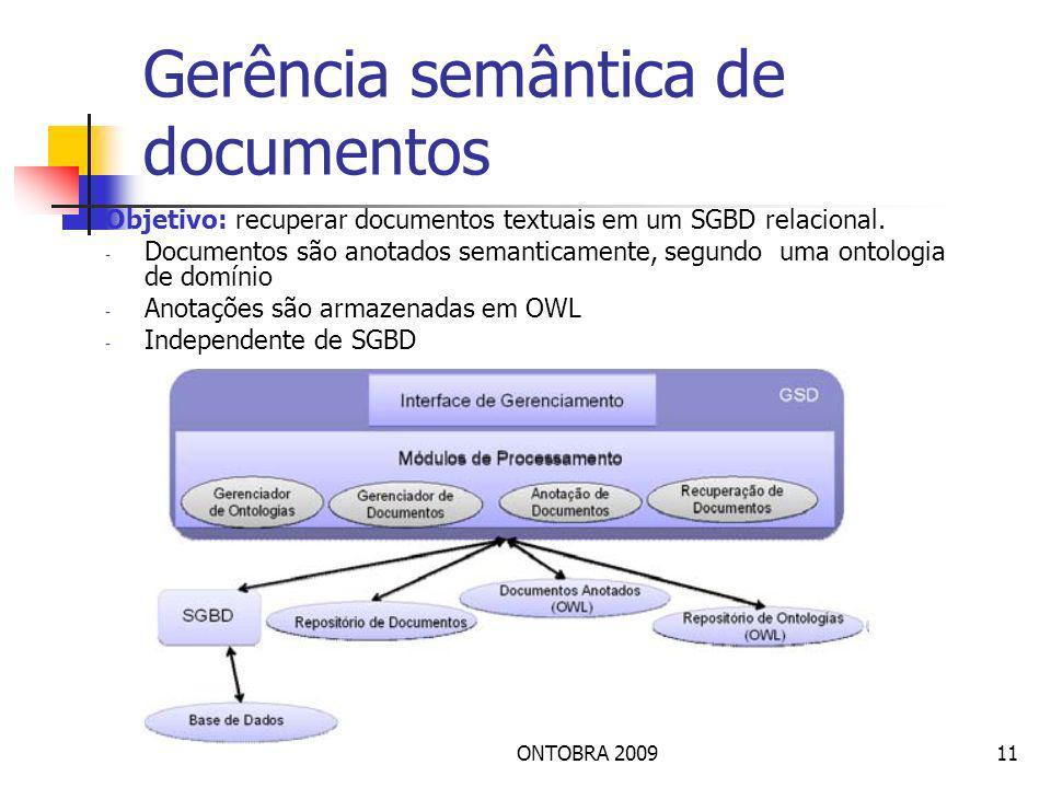 ONTOBRA 200911 Gerência semântica de documentos Objetivo: recuperar documentos textuais em um SGBD relacional.