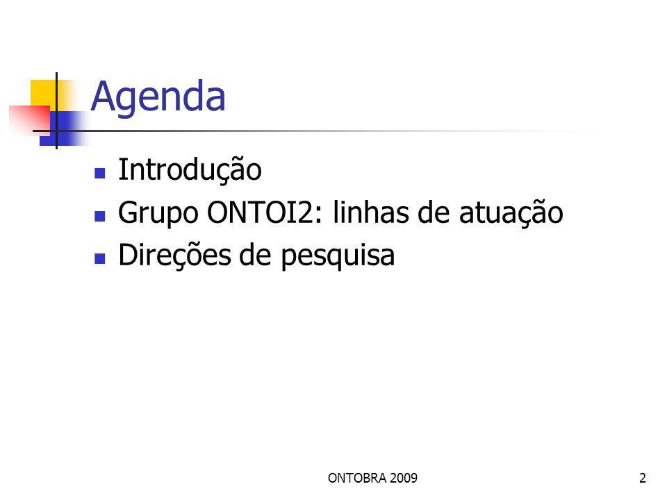 ONTOBRA 20092 Agenda Introdução Grupo ONTOI2: linhas de atuação Direções de pesquisa