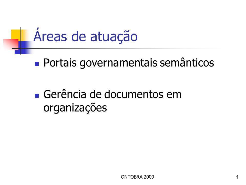 ONTOBRA 20094 Áreas de atuação Portais governamentais semânticos Gerência de documentos em organizações