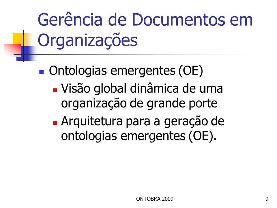 9 Gerência de Documentos em Organizações Ontologias emergentes (OE) Visão global dinâmica de uma organização de grande porte Arquitetura para a geração de ontologias emergentes (OE).