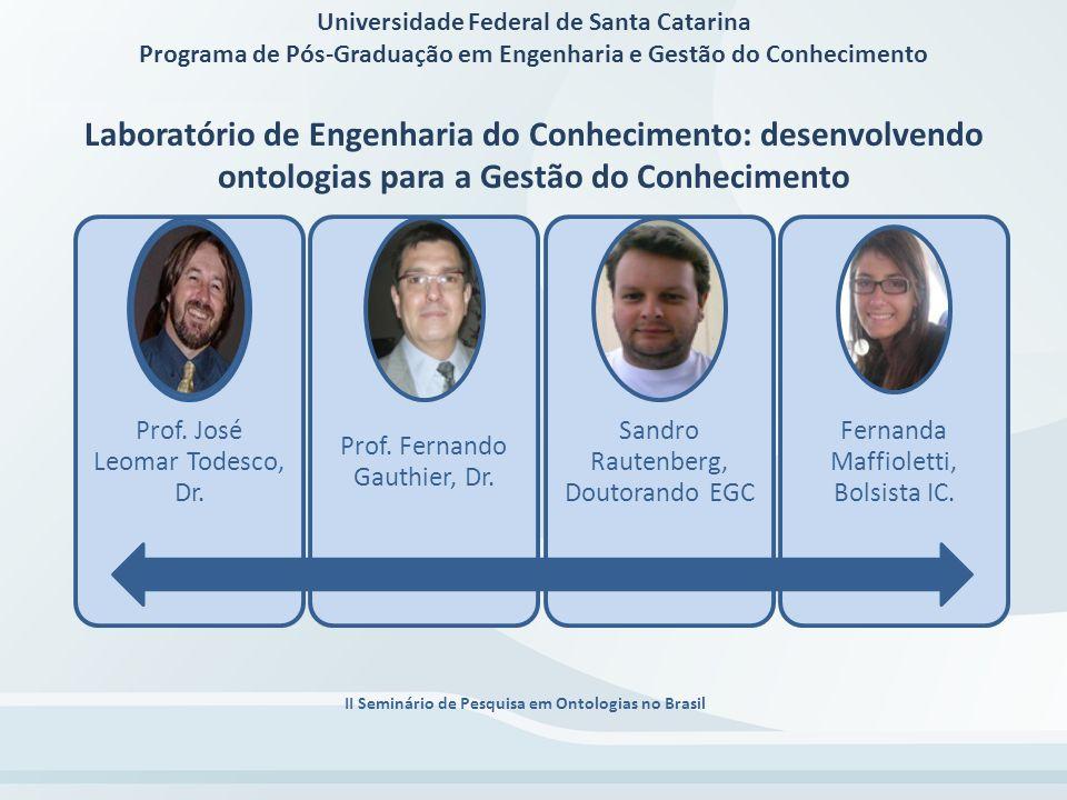II Seminário de Pesquisa em Ontologias no Brasil Laboratório de Engenharia do Conhecimento MODELO DE CONHECIMENTO ENTRE INSTRUMENTOS DA GESTÃO DO CONHECIMENTO E AGENTES COMPUTACIONAIS DA ENGENHARIA DO CONHECIMENTO o objetivo geral deste trabalho é a formalização de uma ontologia de integração entre os Instrumentos de Gestão do Conhecimento e os Agentes Computacionais da Engenharia do Conhecimento.