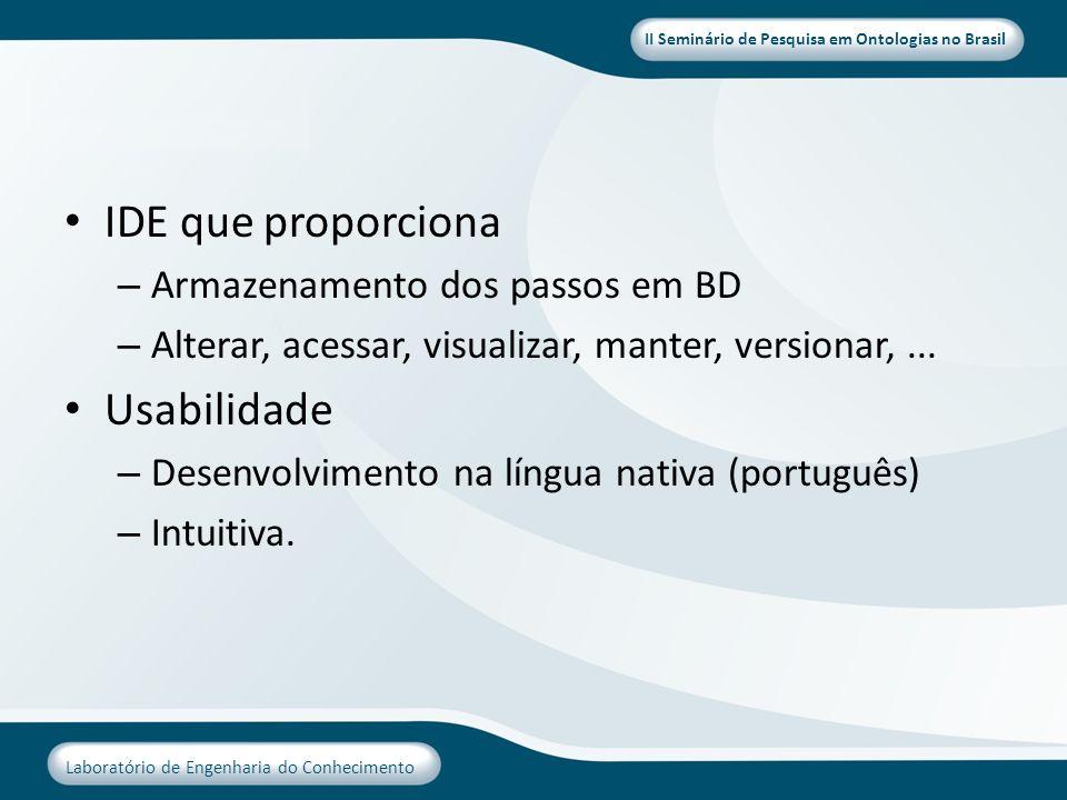 II Seminário de Pesquisa em Ontologias no Brasil Laboratório de Engenharia do Conhecimento IDE que proporciona – Armazenamento dos passos em BD – Alte