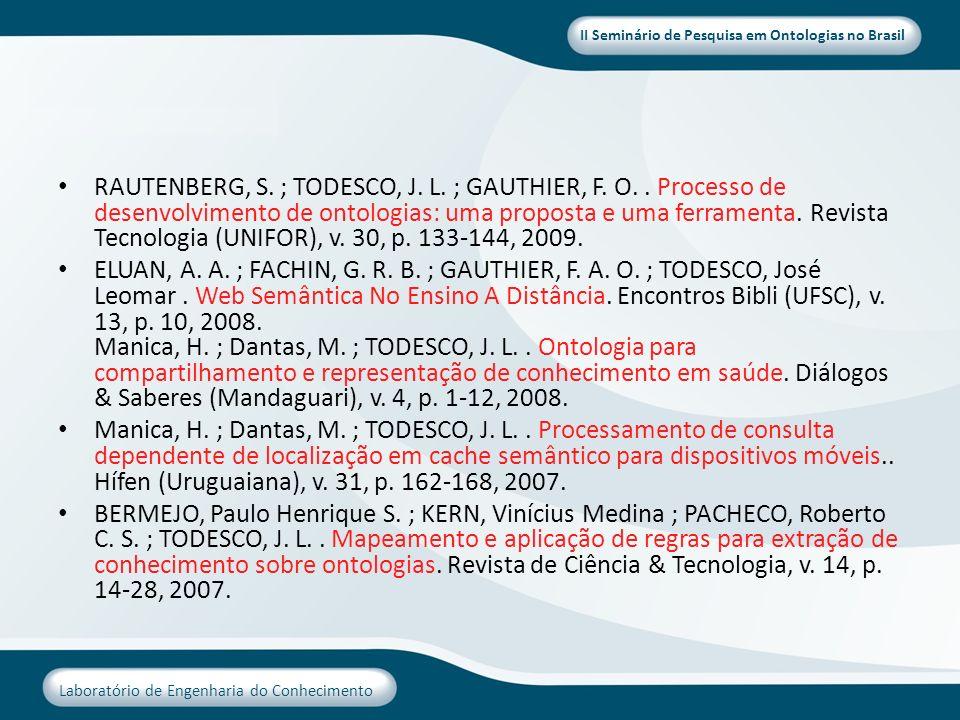 II Seminário de Pesquisa em Ontologias no Brasil Laboratório de Engenharia do Conhecimento RAUTENBERG, S. ; TODESCO, J. L. ; GAUTHIER, F. O.. Processo