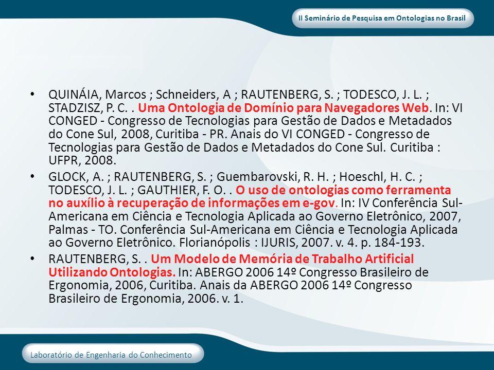 II Seminário de Pesquisa em Ontologias no Brasil Laboratório de Engenharia do Conhecimento QUINÁIA, Marcos ; Schneiders, A ; RAUTENBERG, S. ; TODESCO,