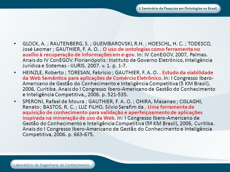 II Seminário de Pesquisa em Ontologias no Brasil Laboratório de Engenharia do Conhecimento GLOCK, A. ; RAUTENBERG, S. ; GUEMBAROVSKI, R.H. ; HOESCHL,