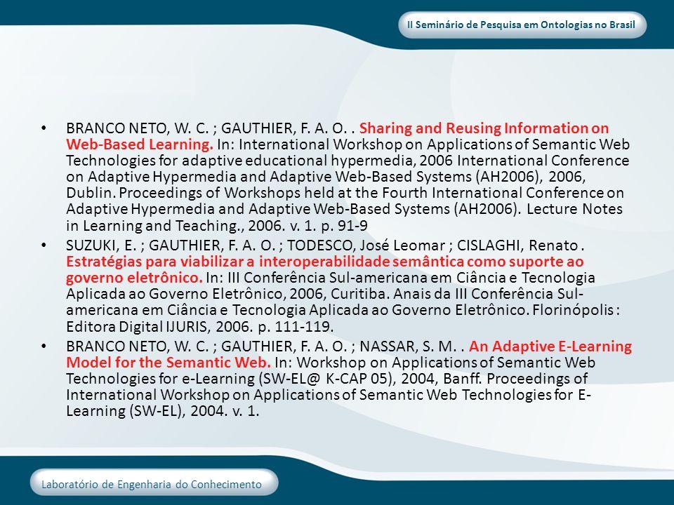 II Seminário de Pesquisa em Ontologias no Brasil Laboratório de Engenharia do Conhecimento BRANCO NETO, W. C. ; GAUTHIER, F. A. O.. Sharing and Reusin
