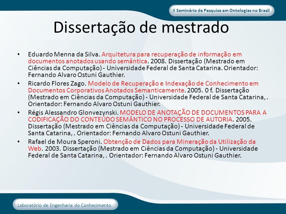 II Seminário de Pesquisa em Ontologias no Brasil Laboratório de Engenharia do Conhecimento Dissertação de mestrado Eduardo Menna da Silva. Arquitetura