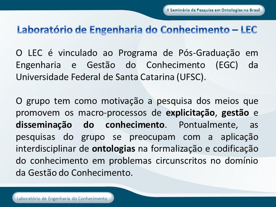 II Seminário de Pesquisa em Ontologias no Brasil Laboratório de Engenharia do Conhecimento O LEC é vinculado ao Programa de Pós-Graduação em Engenhari