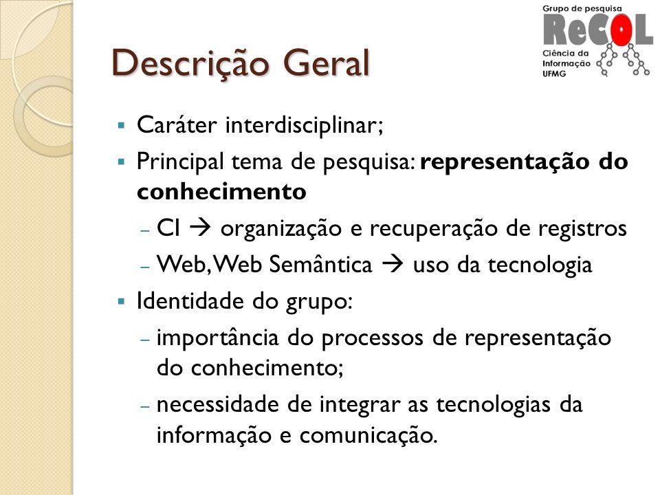 Descrição Geral Caráter interdisciplinar; Principal tema de pesquisa: representação do conhecimento CI organização e recuperação de registros Web, Web