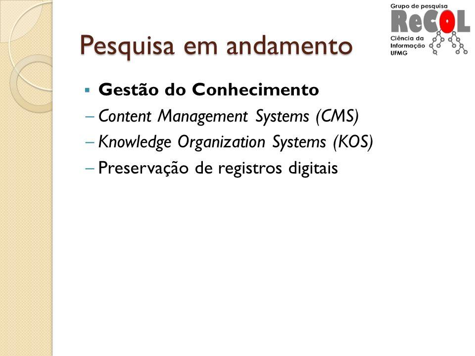 Pesquisa em andamento Gestão do Conhecimento Content Management Systems (CMS) Knowledge Organization Systems (KOS) Preservação de registros digitais