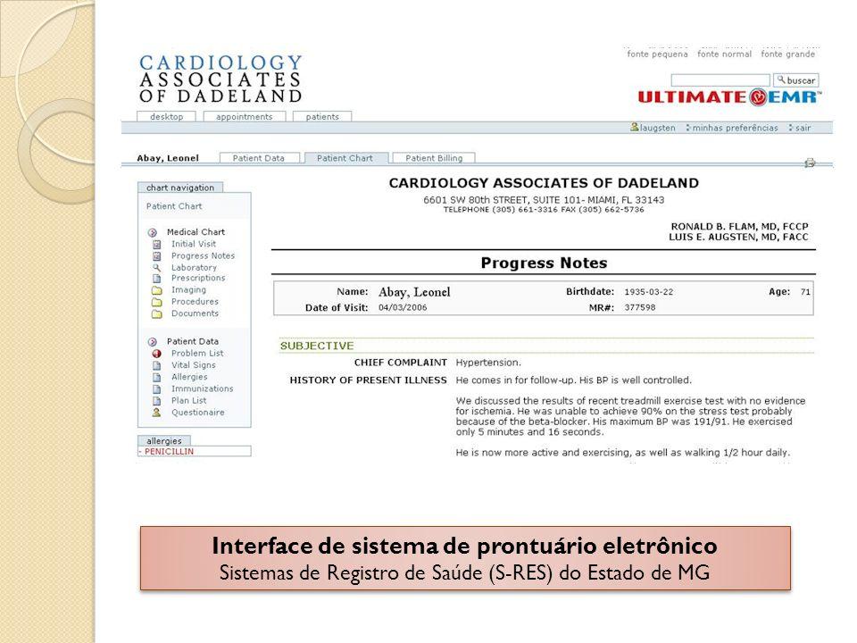 Interface de sistema de prontuário eletrônico Sistemas de Registro de Saúde (S-RES) do Estado de MG Interface de sistema de prontuário eletrônico Sist