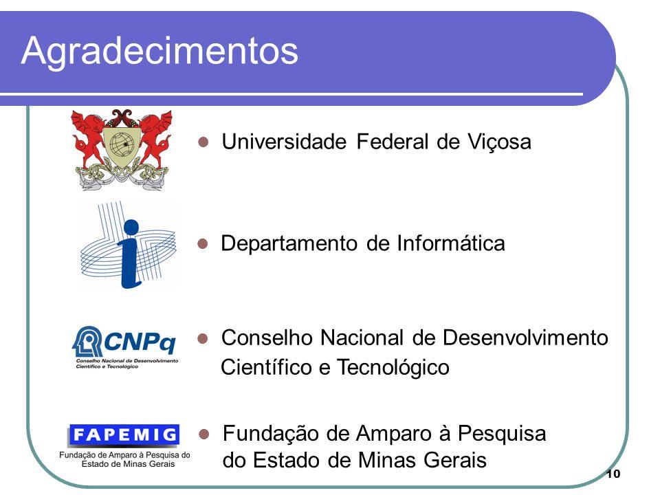 10 Agradecimentos Universidade Federal de Viçosa Departamento de Informática Conselho Nacional de Desenvolvimento Científico e Tecnológico Fundação de Amparo à Pesquisa do Estado de Minas Gerais