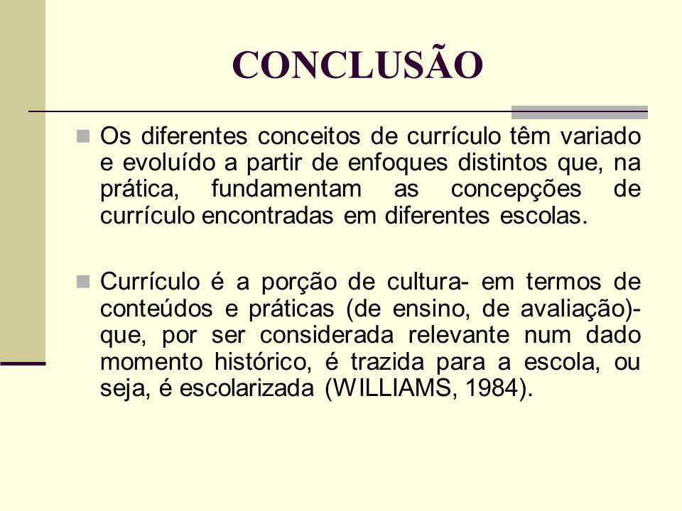 CONCLUSÃO Os diferentes conceitos de currículo têm variado e evoluído a partir de enfoques distintos que, na prática, fundamentam as concepções de currículo encontradas em diferentes escolas.