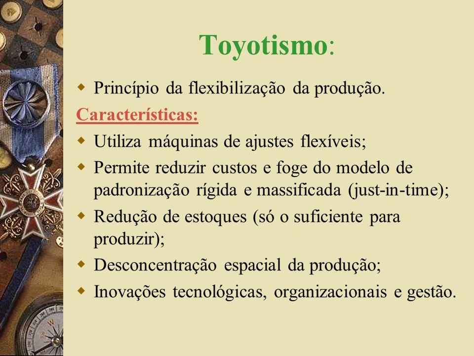 Toyotismo: Princípio da flexibilização da produção. Características: Utiliza máquinas de ajustes flexíveis; Permite reduzir custos e foge do modelo de