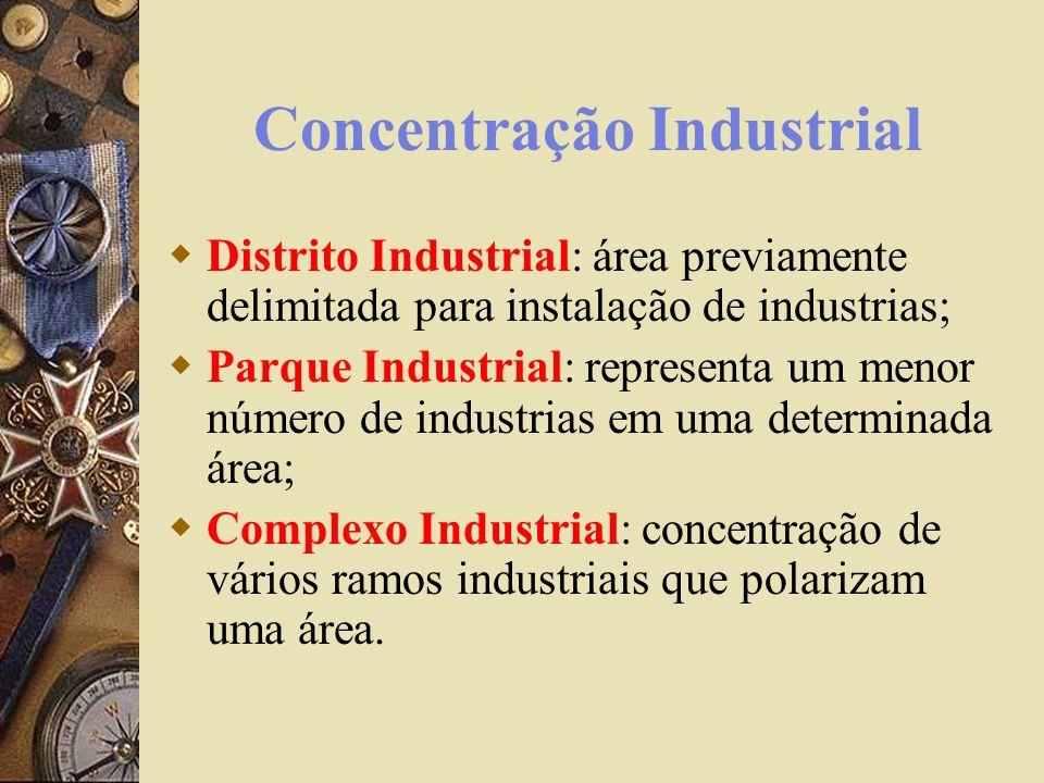 Concentração Industrial Distrito Industrial: área previamente delimitada para instalação de industrias; Parque Industrial: representa um menor número