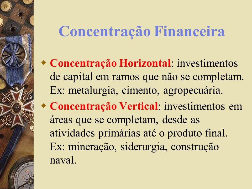 Concentração Financeira Concentração Horizontal: investimentos de capital em ramos que não se completam. Ex: metalurgia, cimento, agropecuária. Concen