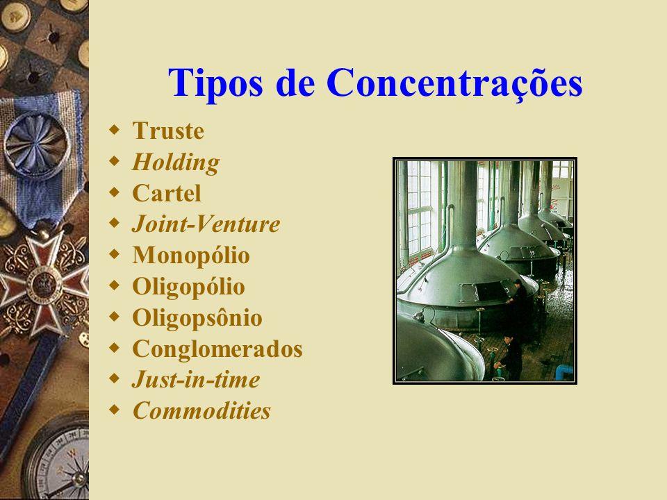 Tipos de Concentrações Truste Holding Cartel Joint-Venture Monopólio Oligopólio Oligopsônio Conglomerados Just-in-time Commodities