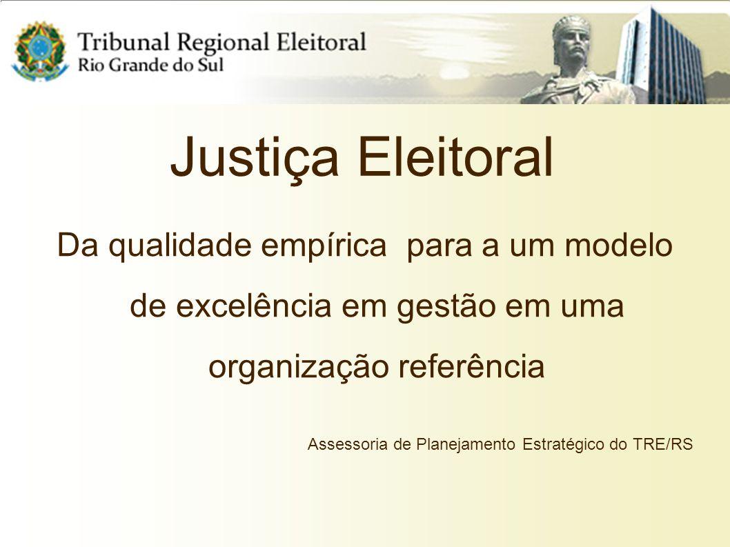 Justiça Eleitoral Da qualidade empírica para a um modelo de excelência em gestão em uma organização referência Assessoria de Planejamento Estratégico