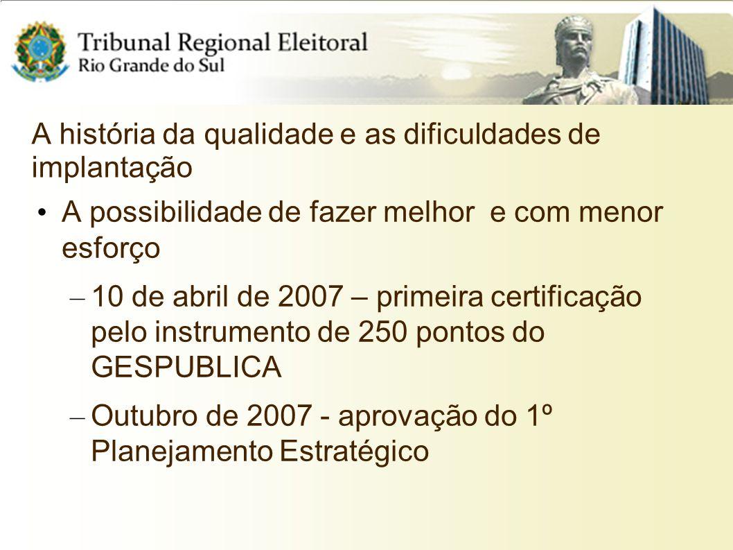 A história da qualidade e as dificuldades de implantação A possibilidade de fazer melhor e com menor esforço – 10 de abril de 2007 – primeira certific