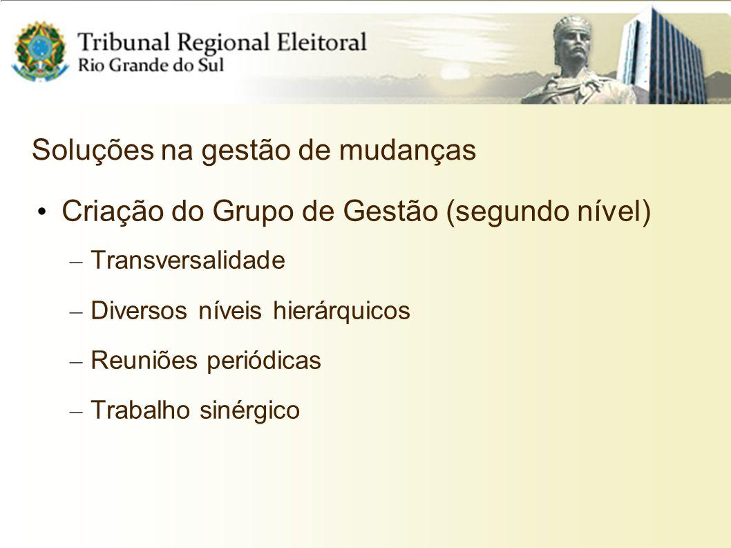 Soluções na gestão de mudanças Criação do Grupo de Gestão (segundo nível) – Transversalidade – Diversos níveis hierárquicos – Reuniões periódicas – Tr