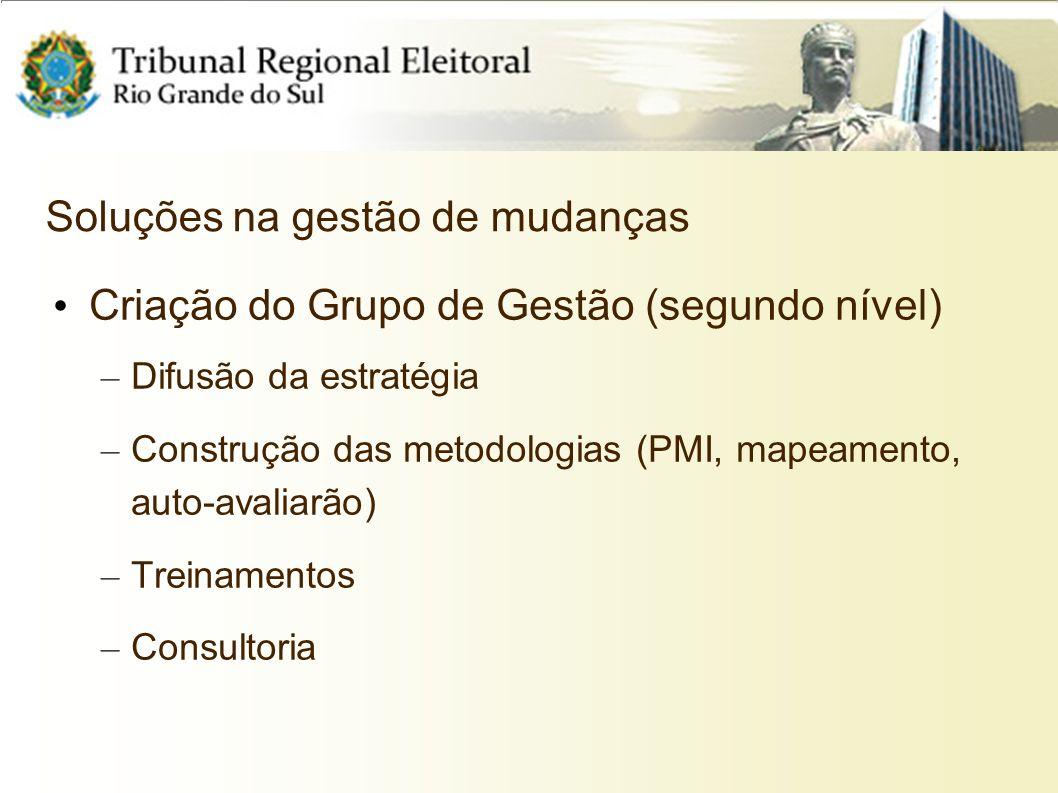 Soluções na gestão de mudanças Criação do Grupo de Gestão (segundo nível) – Difusão da estratégia – Construção das metodologias (PMI, mapeamento, auto