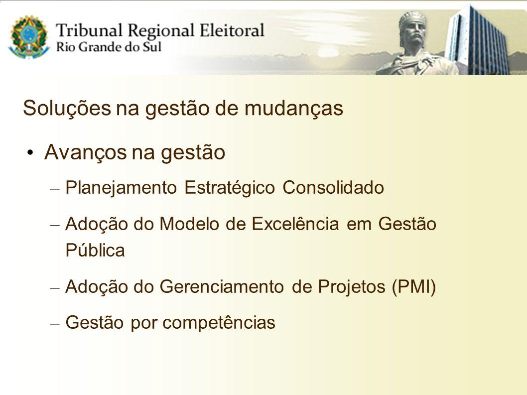Soluções na gestão de mudanças Avanços na gestão – Planejamento Estratégico Consolidado – Adoção do Modelo de Excelência em Gestão Pública – Adoção do