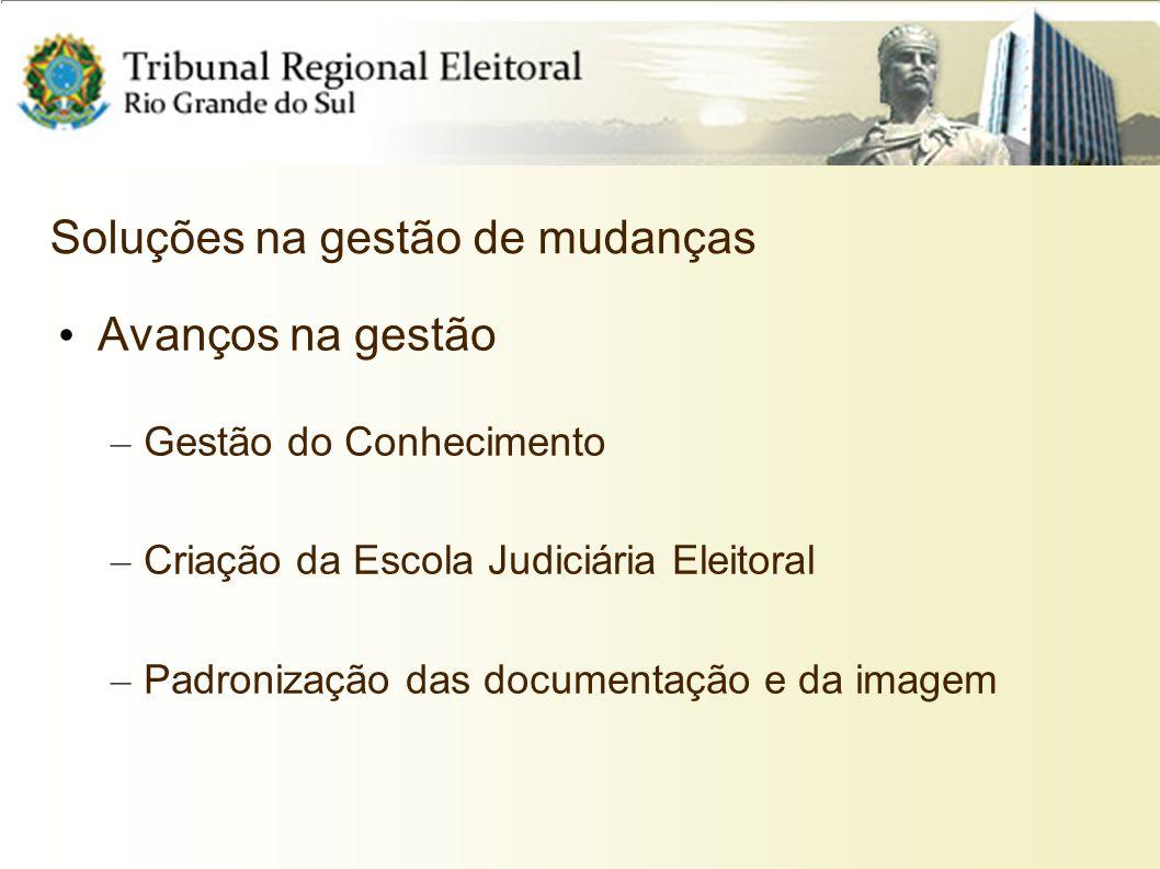 Soluções na gestão de mudanças Avanços na gestão – Gestão do Conhecimento – Criação da Escola Judiciária Eleitoral – Padronização das documentação e d