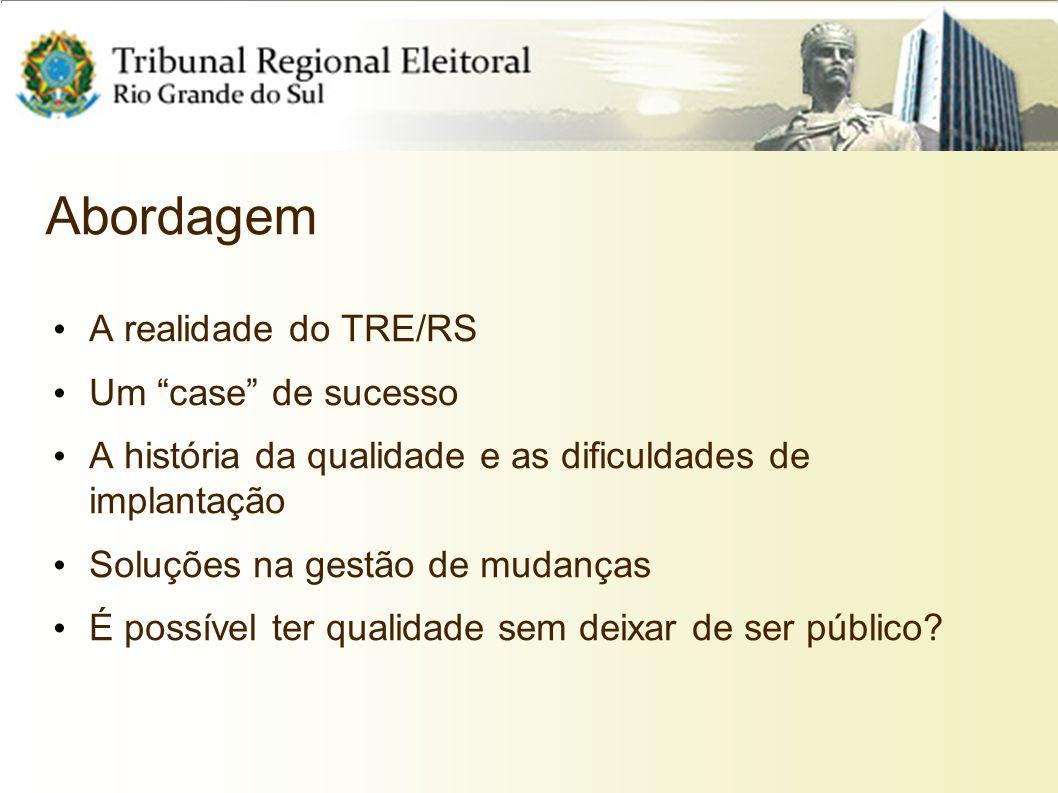 Abordagem A realidade do TRE/RS Um case de sucesso A história da qualidade e as dificuldades de implantação Soluções na gestão de mudanças É possível