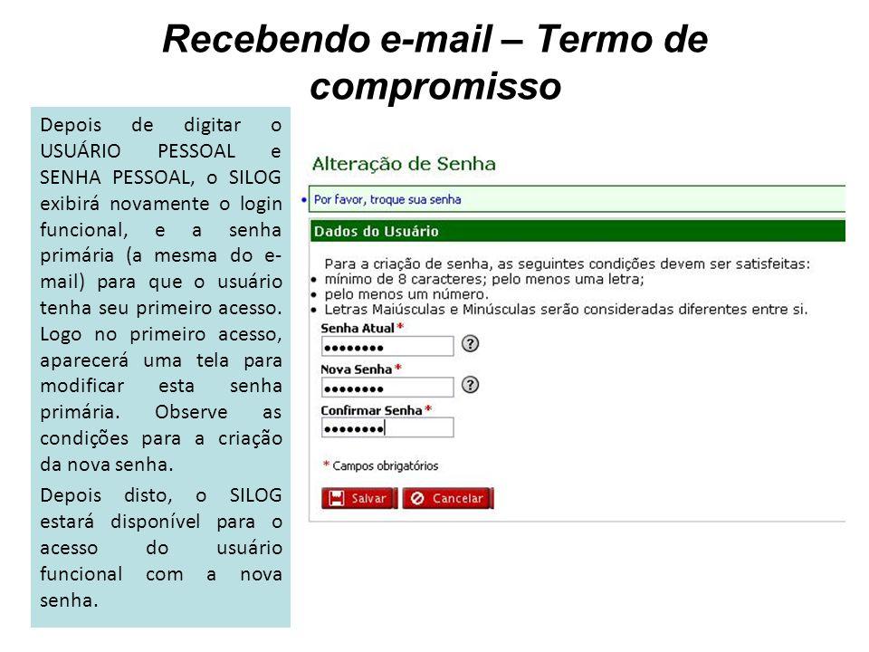 Depois de digitar o USUÁRIO PESSOAL e SENHA PESSOAL, o SILOG exibirá novamente o login funcional, e a senha primária (a mesma do e- mail) para que o u