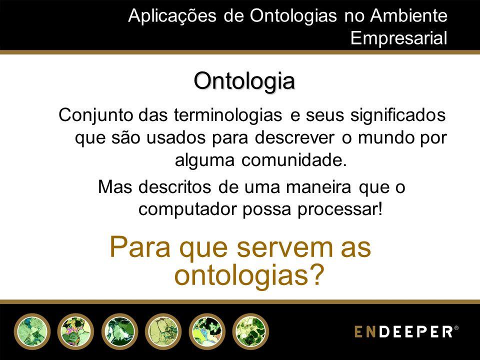Aplicações de Ontologias no Ambiente Empresarial Ontologia Conjunto das terminologias e seus significados que são usados para descrever o mundo por alguma comunidade.