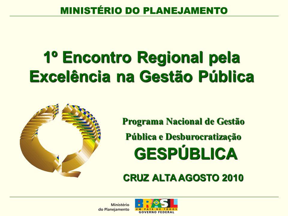 MINISTÉRIO DO PLANEJAMENTO 1º Encontro Regional pela Excelência na Gestão Pública Programa Nacional de Gestão Pública e Desburocratização GESPÚBLICA GESPÚBLICA CRUZ ALTA AGOSTO 2010