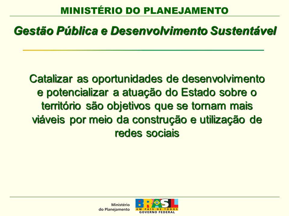 MINISTÉRIO DO PLANEJAMENTO Gestão Pública e Desenvolvimento Sustentável Catalizar as oportunidades de desenvolvimento e potencializar a atuação do Estado sobre o território são objetivos que se tornam mais viáveis por meio da construção e utilização de redes sociais