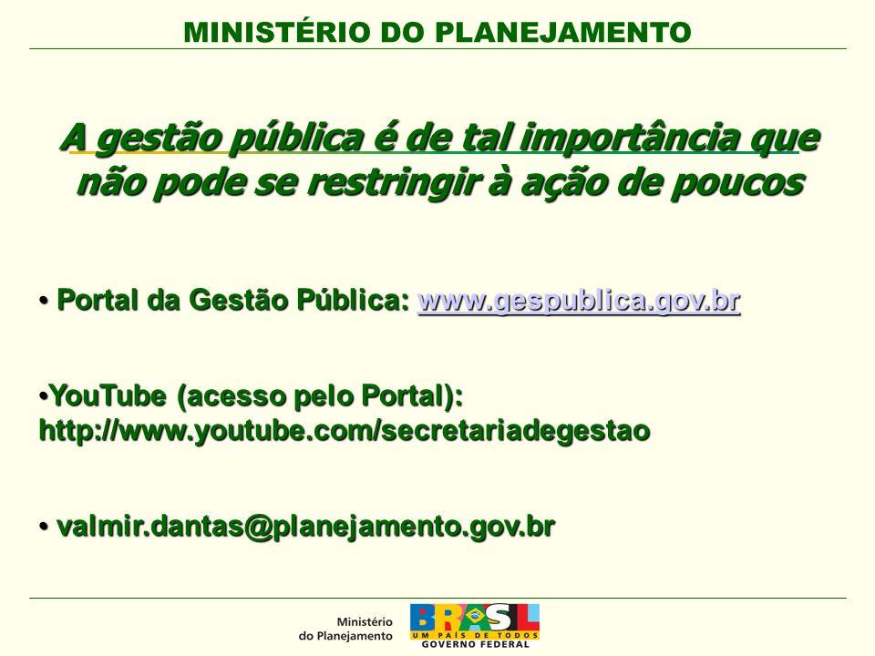 MINISTÉRIO DO PLANEJAMENTO A gestão pública é de tal importância que não pode se restringir à ação de poucos Portal da Gestão Pública: www.gespublica.gov.br Portal da Gestão Pública: www.gespublica.gov.brwww.gespublica.gov.br YouTube (acesso pelo Portal): http://www.youtube.com/secretariadegestao YouTube (acesso pelo Portal): http://www.youtube.com/secretariadegestao valmir.dantas@planejamento.gov.br valmir.dantas@planejamento.gov.br