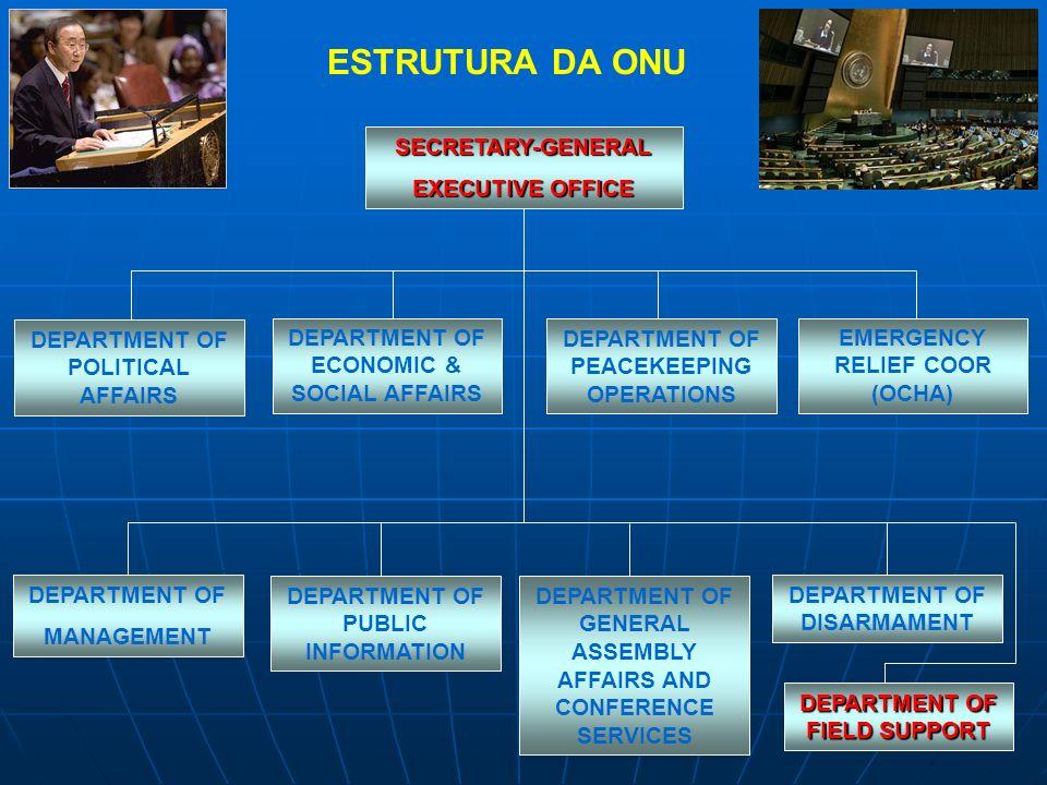 ESTRUTURA DA ONU SECRETARY-GENERAL EXECUTIVE OFFICE DEPARTMENT OF ECONOMIC & SOCIAL AFFAIRS DEPARTMENT OF MANAGEMENT DEPARTMENT OF GENERAL ASSEMBLY AF