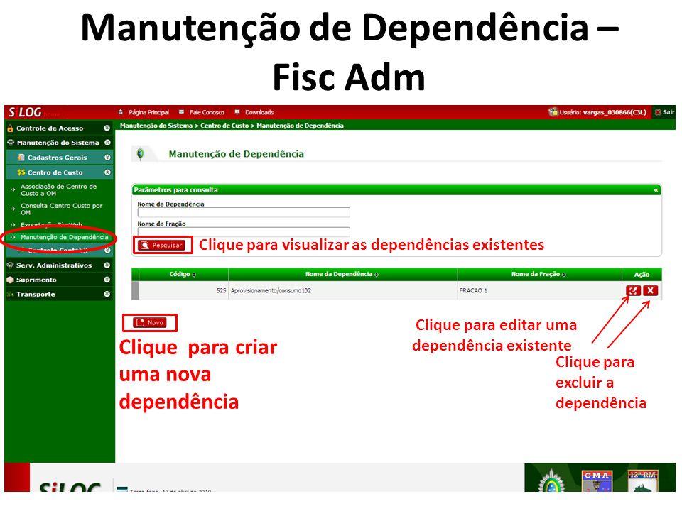 Clique para visualizar as dependências existentes Clique para editar uma dependência existente Clique para excluir a dependência Clique para criar uma nova dependência Manutenção de Dependência – Fisc Adm