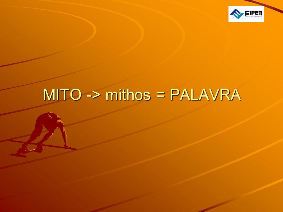 MITO -> mithos = PALAVRA