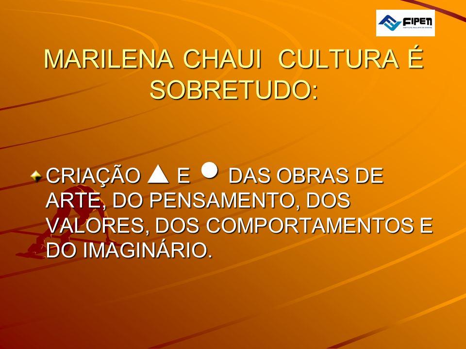 MARILENA CHAUI CULTURA É SOBRETUDO: CRIAÇÃO E DAS OBRAS DE ARTE, DO PENSAMENTO, DOS VALORES, DOS COMPORTAMENTOS E DO IMAGINÁRIO.