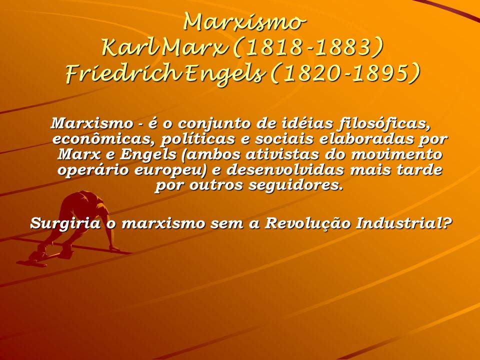 Marxismo Karl Marx (1818-1883) Friedrich Engels (1820-1895) Marxismo - é o conjunto de idéias filosóficas, econômicas, políticas e sociais elaboradas