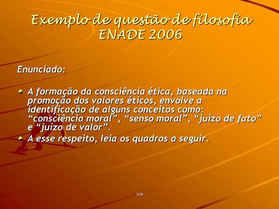 1/9 Exemplo de questão de filosofia ENADE 2006 Enunciado: A formação da consciência ética, baseada na promoção dos valores éticos, envolve a identific