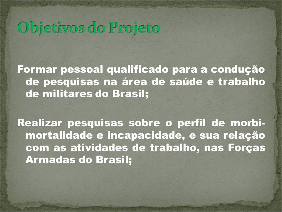 Formar pessoal qualificado para a condução de pesquisas na área de saúde e trabalho de militares do Brasil; Realizar pesquisas sobre o perfil de morbi