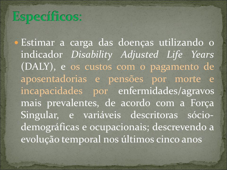 Estimar a carga das doenças utilizando o indicador Disability Adjusted Life Years (DALY), e os custos com o pagamento de aposentadorias e pensões por