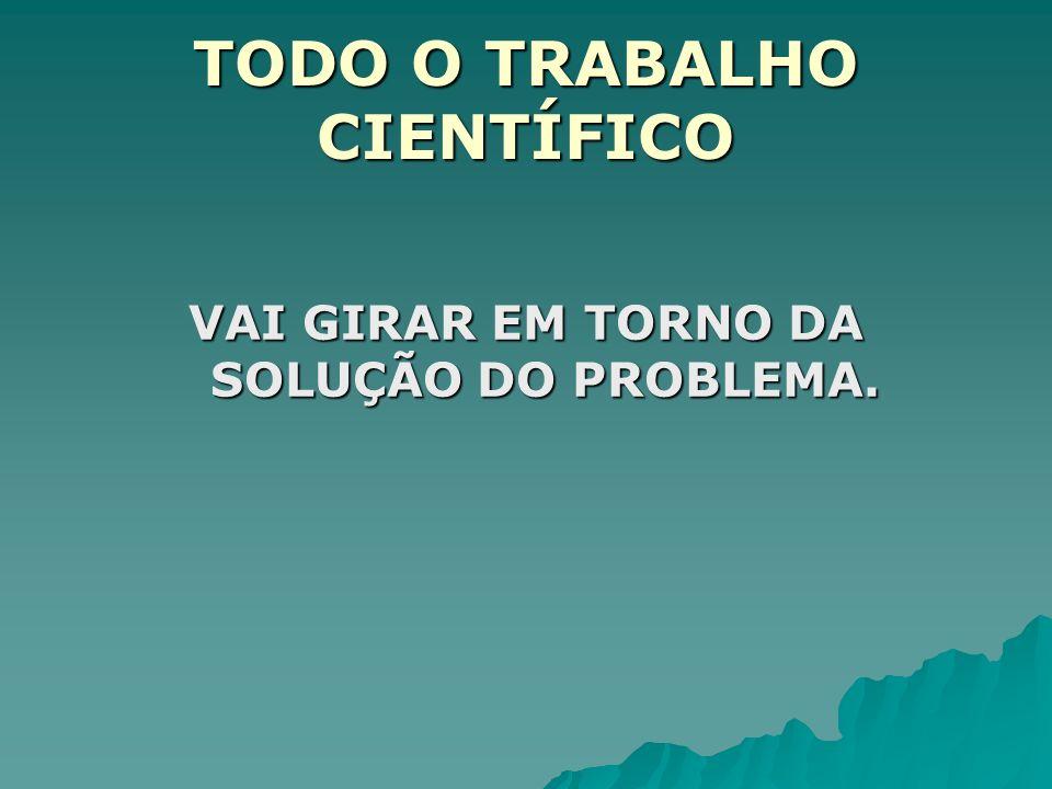 TODO O TRABALHO CIENTÍFICO VAI GIRAR EM TORNO DA SOLUÇÃO DO PROBLEMA.