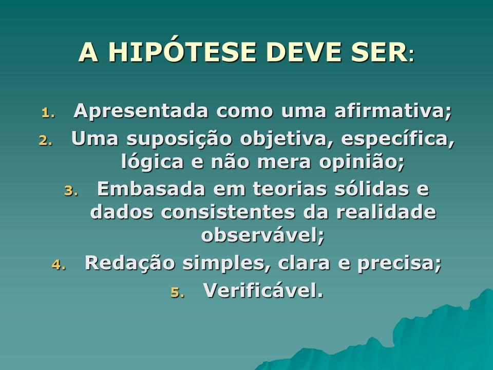 A HIPÓTESE DEVE SER : 1. Apresentada como uma afirmativa; 2. Uma suposição objetiva, específica, lógica e não mera opinião; 3. Embasada em teorias sól