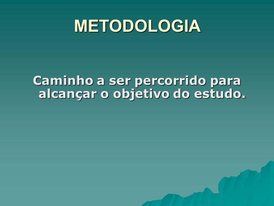 METODOLOGIA Caminho a ser percorrido para alcançar o objetivo do estudo.